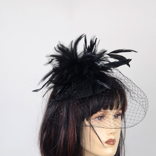 Skullcap with feathers and veil - Black out of stock - 2 colours