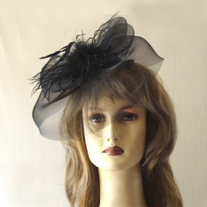 Crinoline and feathers mini-hat