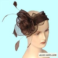 Headband chocolate sinamay for weddings and fetes