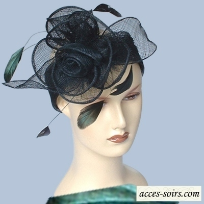 Wedding black sinamay headband with feathers and flower