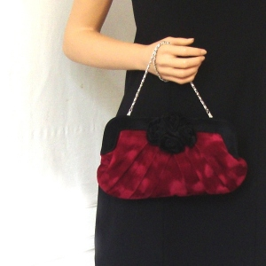 Evening, wedding bordeaux velours bag