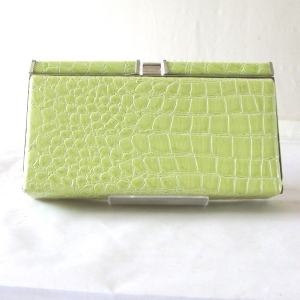 Thin evening bag imitation croco - grey only