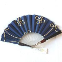 Blue/violet Olivia Oberlin fan with arabesques