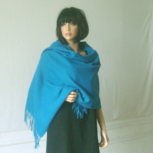 Duck blue shawl cashmere and wool