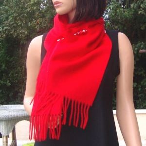 Cashmere and wool red scarf