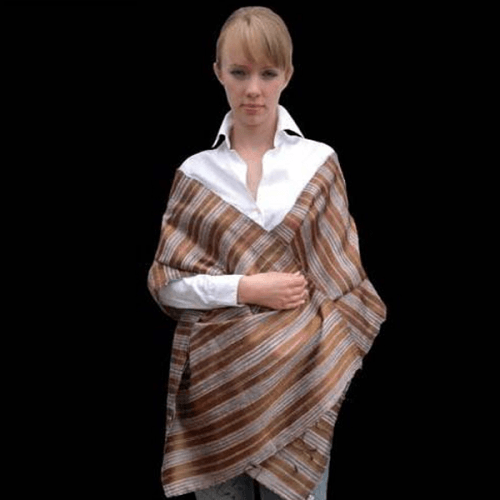 Long golden brown silk scarf
