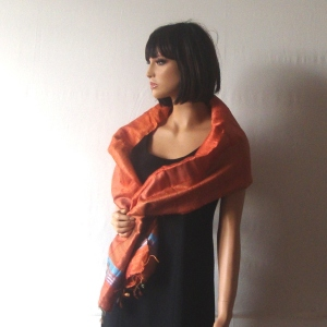 Long orange and turquoise natural silk foulard