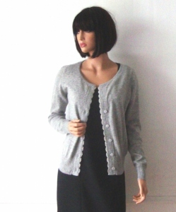 Light grey 100 % cashmere jacket cardigan