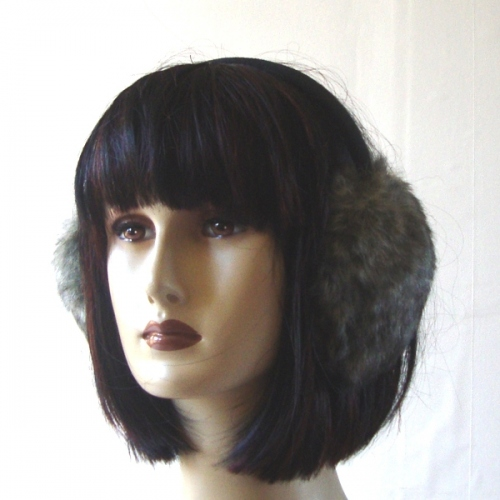 Grey fake fur earcover