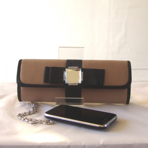 Evening clutch - bi-coloured black and camel