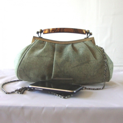 Vintage evening bag - almond green fabric with hornrimmed handle
