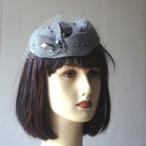 Grey felt wedding hat, fascinator, headband