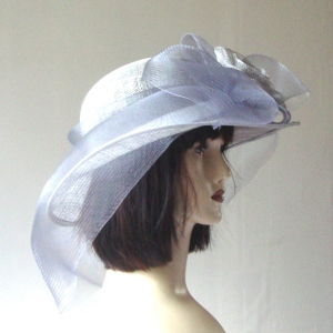 Grey wedding or cocktail sinamay hat with crinoline