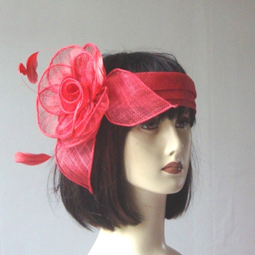 Red wedding sinamay headband