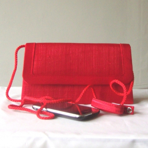 Red wedding, evening clutch - sinamay and satin