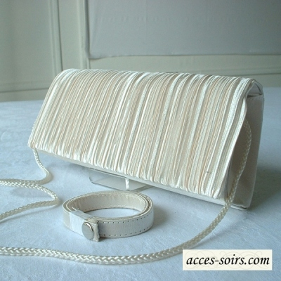 Ivory pleated satin evening bag