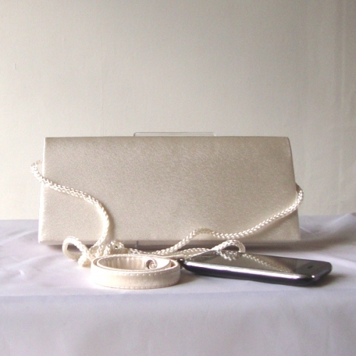 Ivory beige evening satin clutch