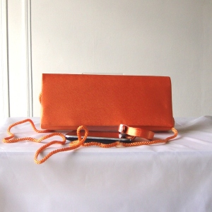 Wedding, evening orange satin bag
