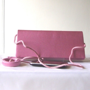 Dark pink satin evening, wedding bag