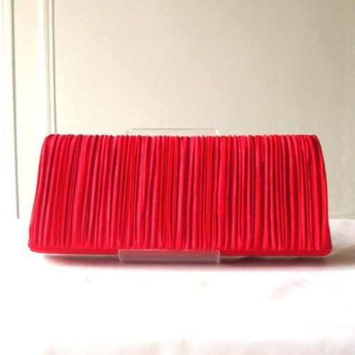 "Red evening clutch ""baguette"" shape"