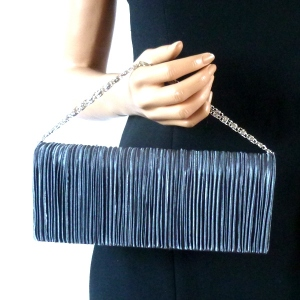 Dark grey pleated evening bag