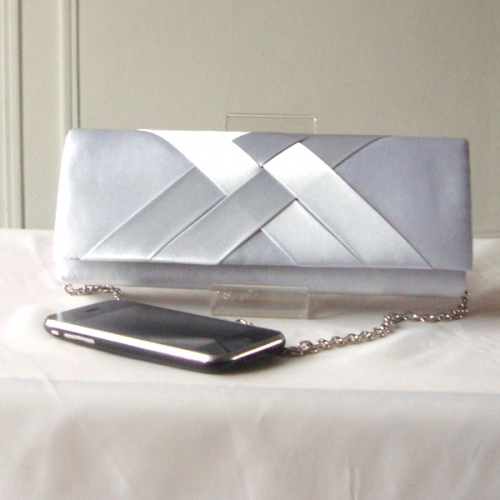 Our darling evening clutch - pale grey satin