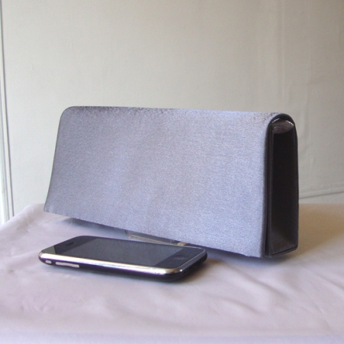 Dark grey evening satin clutch