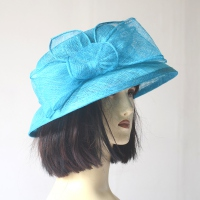 Little wedding hat - turquoise sinamay