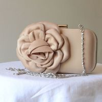 Evening or wedding champagne satin clutch