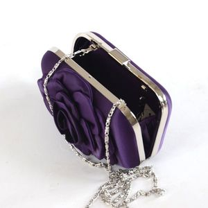 Little wedding, party satin clutch with flower - 5 colours