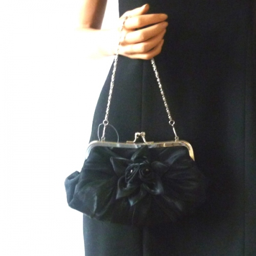 Evening, wedding black satin clutch