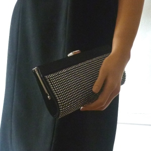 Evening clutch - satin and rhinestone - 3 colours