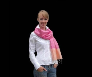 Long silk and banana fibre pink and yellow stole