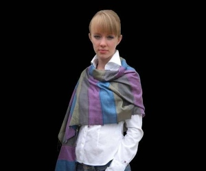 Silk and viscose violet, grey, blue and khahi long foulard