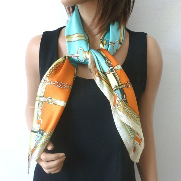 Silk foulard, square with bridles and harness - 4 coulors!