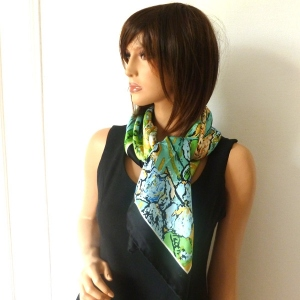 Silk foulard square VanGogh 'Iris'