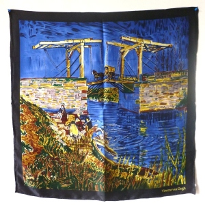 "Silk carré foulard ""the bridge"" Van gogh"