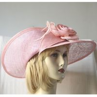 Light pink sinamay wedding hat