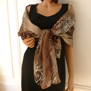 "Pure silk shawl ""Jungle"""