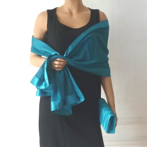 Matching duo evening bag and wrap duck blue, dark turquoise