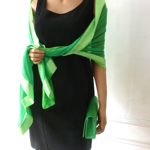 Matching grass green wedding duo with evening bag and long grass green stole
