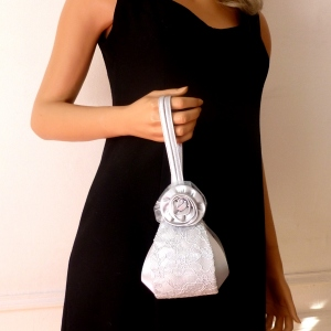 Pretty evening satin bag with laces