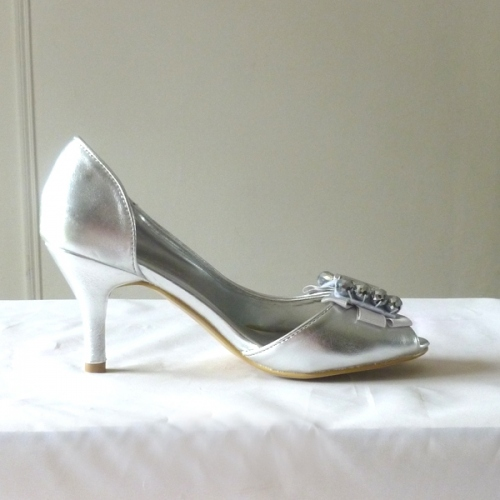 Silver satin evening shoes
