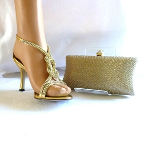 Evening shoes gold and rhinestones