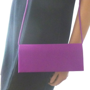Purple satin evening bag