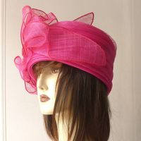 Wedding hat sinamay and polyester satin - 2 COLOURS : fuchsia or lilac