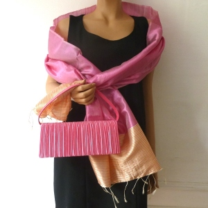 Matching fushia duo outfit for weddings with bag and stole