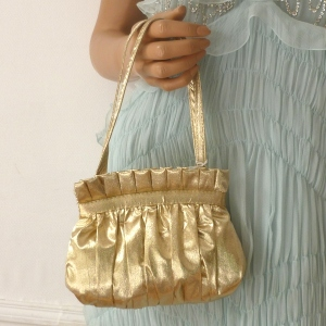 Mini evening bag - gold or silver satin