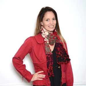 Long black and white scarf