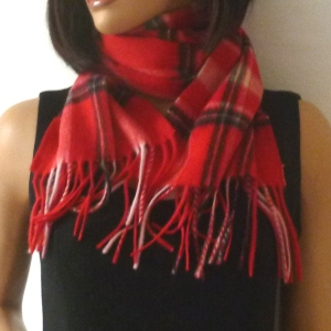 Scarf cashmere and wool tartan